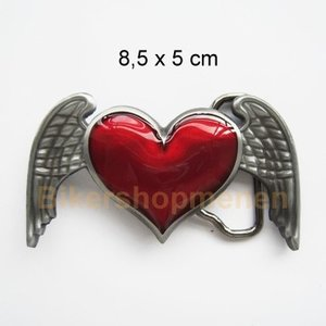 Red heart and wings belt buckle