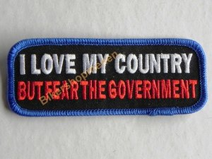 Biker patch - I love my counrty but fear the government