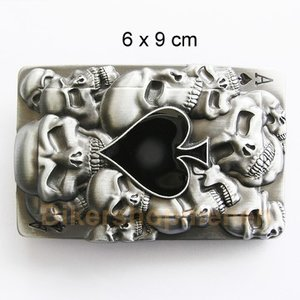 Black ace and skulls belt buckle