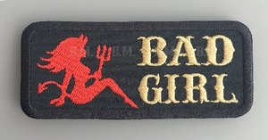 Bad Girl red gold embroidery lady patch