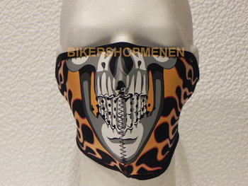 Biker face mask skull flame