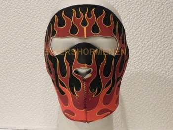 Biker face mask red flames