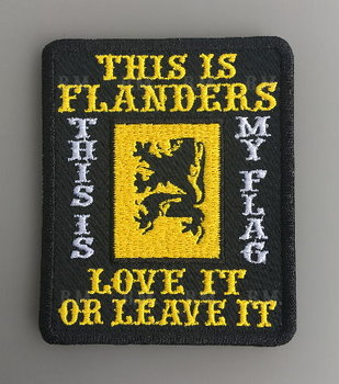 This is Flanders love it or leave it embroidery biker patch