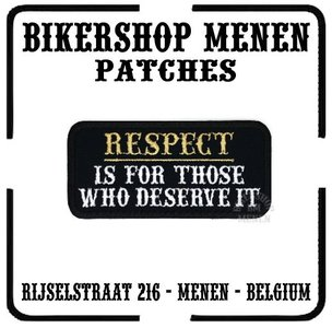 Respect deserve it funny biker patches teksten Bikershop Menen