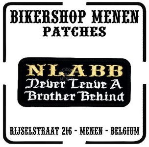 NLABB Never leave a brother behind  funny biker patches teksten