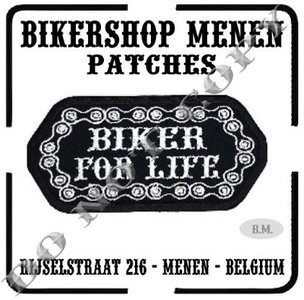 Biker for life with chain biker patch