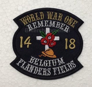 World War One remember Belgium Flanders Fields biker patches