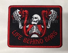 Life Behind Bars Biker patch red